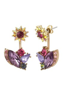 Belk Holiday Style Gold-Tone Flower and Mixed Faceted Stone Cluster Front and Back Earrings, $35