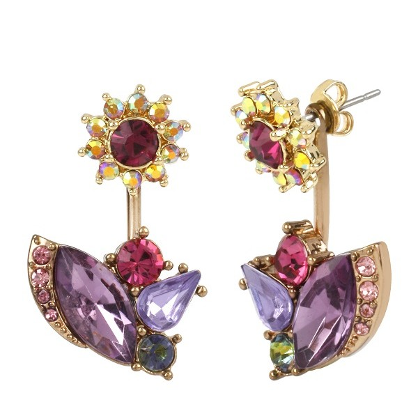 Belk Betsey Johnson, Rose Gold-Tone Flower and Mixed Faceted Stone Cluster Front and Back Earrings, $35