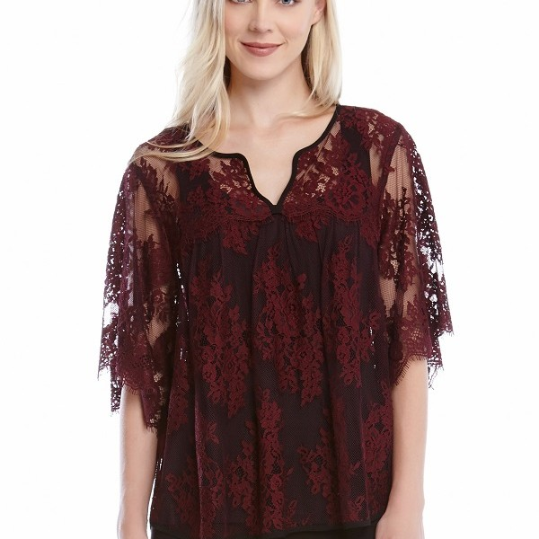 Belk Karen Kane, Split-Placket Lace Top, $128