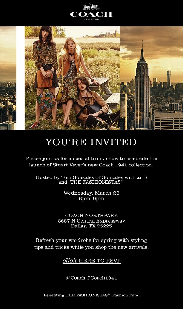 Coach Spring 2016 Trunk Show Hosted by The Fashionistas and Tori