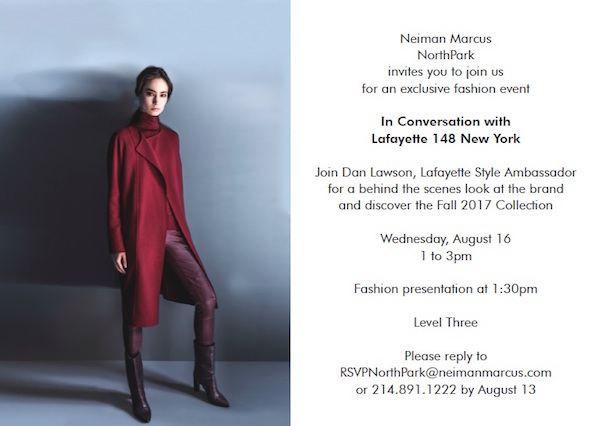 LAFAYETTE PERSONAL APPEARANCE Neiman Marcus NorthPark