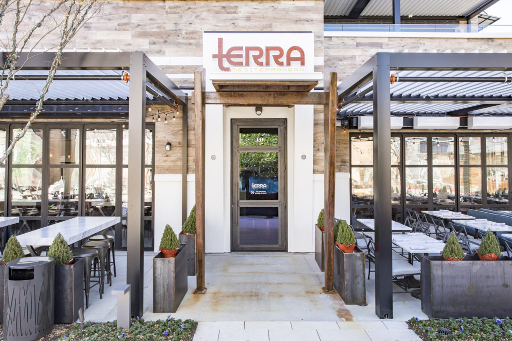 Exterior Photo of Terra Mediterranean, new to the restaurant district at The Shops at Willow Bend
